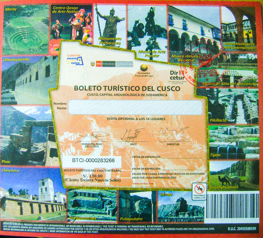 The Cusco Tourist Ticket (Boleto Turistico)